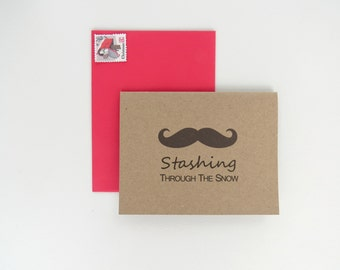 Stashing Through The Snow Funny Mustache Holiday Christmas Card on Brown Kraft with Envelope Blank Inside