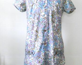 Vintage Cotton Summer Day Dress • Purple Aqua Green Floral