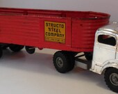 Rare 50s STRUCTO STEEL COMPANY Semi Cab Tractor Trailer Truck Lowering Liftgate Valentines Day Gift