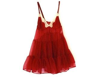 Vintage semi sheer Kayser Babydoll Nightgown Mini dress kayser sz 34 / S