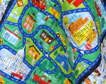 Baby Boy Quilt-Construction Vehicles-Fire Truck-Airplane-Train-Roadway Map-Traffic Jam Baby Blanket