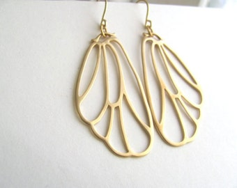 Art deco abstract gold wing earrings, 14k gold plated
