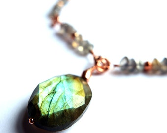 rose gold labradorite necklace, delicate beaded necklace, natural labradorite, blue green flash, coated pyrite, unique, ooak