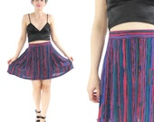 25% OFF SALE Striped Skater Skirt Plus Size Skirt Purple High Waist Mini Skirt Elastic Waist Skirt Jewel Tone Abstract Print Skirt (XL)