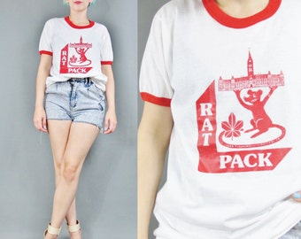 70s 80s RAT PACK Tshirt Vintage Screen Printed Tshirt Fitted Ringer Tee Red White Tshirt Poly Cotton Shirt England Big Ben Tourist (S/M/L)