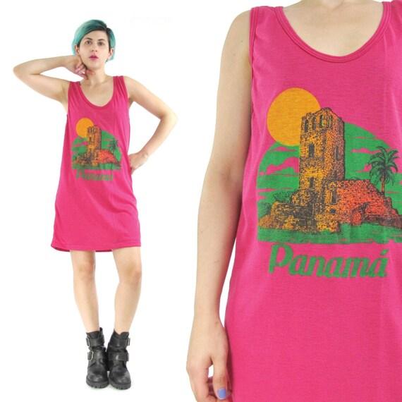 80s Beach Tank Dress Panama Tourist Tshirt Dress Bright Pink