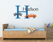 Boy Race Car Wall Decal Set - Personalized Name and Initial Decal - Racing Wall Decal - Large