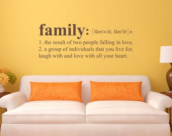 Family Definition Wall Decal - Dictionary definition Decal - Family Wall Decal - Large