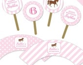 Horse Party - Personalized DIY printable cupcake wrapper and topper set