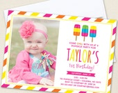 Popsicle Party Photo Invitations - Professionally printed *or* DIY printable