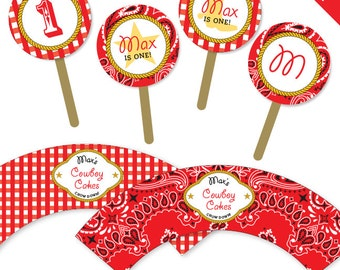 Country Western Party - Personalized DIY printable cupcake wrapper and topper set