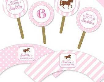Pony Party / Horse Party - Personalized DIY printable cupcake wrapper and topper set
