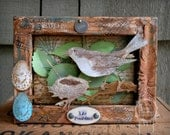 Bird and Nest Mixed Media Shadow Box, Nature Inspired Assemblage Reverse Canvas, Original OOAK Art Canvas, Life Possibilities 3D Collage