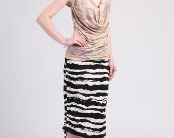 Side Drawstring Pencil Skirt, Striped Skirt, Animal Print Skirt, Shirred Skirt, Ruched Skirt, Pull On Skirt - Black and White