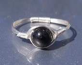 Black Tourmaline Ring Argentium Sterling Silver Wire Wrapped Ring Custom Sized For You