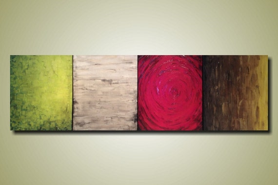 Large Abstract painting - 24 X 72 Inches- JMJartstudio custom -Apples to Apples -Wall art-wall decor - 4 pc painting-Oil painting