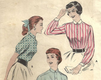 Butterick 7164 / Vintage 50s Sewing Pattern / Blouse Shirt / Size 14 Bust 32