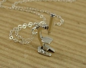Microscope Necklace, Sterling Silver Microscope Charm on a Silver Cable Chain