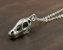 Dinosaur Fossil Skull Necklace, Silver Dinosaur Skull Charm on a Silver Cable Chain
