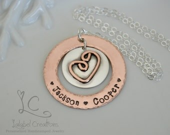Hand Stamped Necklace, Mothers Day Personalized Necklace, Copper and Silver Washer Necklace, Mothers Day Gift, Metal Stamped Necklace