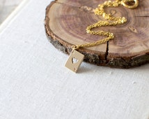 Ace of Hearts Charm Necklace. Ace Necklace. Ace Pendant Necklace. Playing Cards Necklace. Gold Charm Necklace.