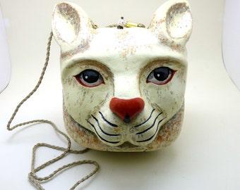 Hand Painted Wooden Cat Shoulder Bag