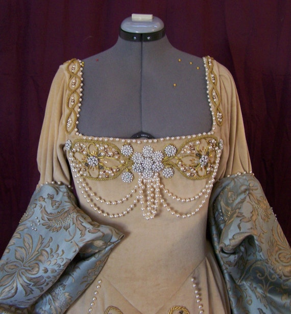 Luxury bridal gown tudor style with bead work by for Tudor style wedding dress
