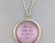 God is within her; she will not fall - Necklace or Key Chain - Vintage, Shiny Silver Finish