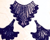 Vintage 1910s Edwardian Incredible Jet Beaded Bodice and Cuff Appliqués