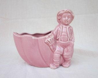 Pink Boy and Shell Vintage Planter German Looking Boy Retro Planter or Vase