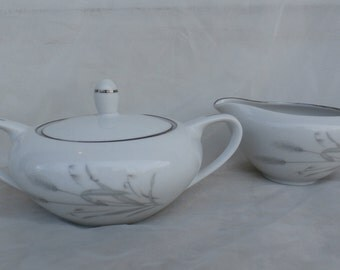 Fine China of Japan Spring Wheat Sugar Bowl and Creamer Gray and White
