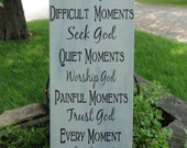 Happy Moments Praise God Sign/Wood Sign/Home Decor/Country/Rustic/Shabby Chic/8 x 19 Sign