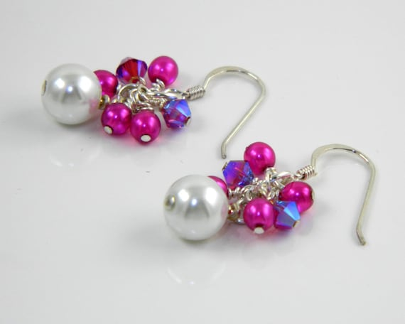 Fuchsia and White Cluster Earrings, Fuchsia Dangle Earrings with Sterling Silver Ear Wires