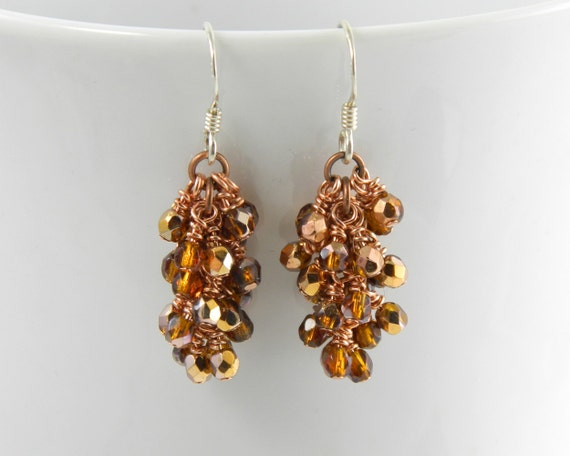 Copper and Glass Cascade Dangle Earrings with Sterling Silver Ear Wires