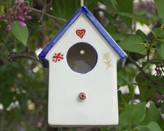 Hanging White blue Ceramic Bird House, Pottery Bird House, gold lines, Spring Celebrations Garden Art, Home and Garden, Birds