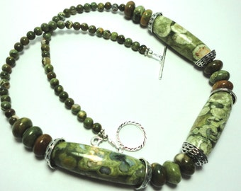 Rainforest Opal Necklace or Exotic Rainforest Jasper Large Oblong Hand Carved Bead Necklace with Sterling
