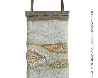 Hand felted SLING BAG - Flow / light brown/ white/ yellow amber