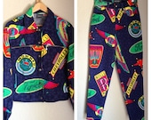 VERSACE 80s 90s Car Logo High Waisted Skinny Jeans and Bomber Jacket SET