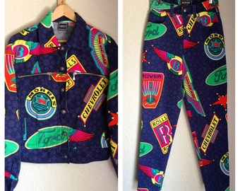 VERSACE 80s 90s Car Logo High Waisted Skinny Jeans and Bomber Jacket SET Free Shipping