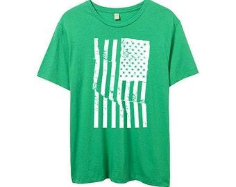 American Flag Shirt - USA - Green Tshirt - 90s - Mens Flag Shirt - Grunge - S, M , L XL, 2XL