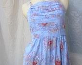 Vintage 1970s Dress, Blue Summer Dress, Floral Beach ,Pleated Front, Prairie Flowers, Tie Back