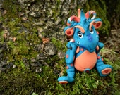 Polymer Clay Dragon 'Bleu' - Limited Edition Collectible