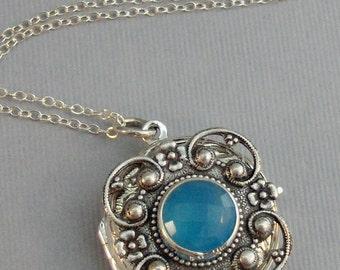 Blue Chalacedony,Locket,Chalacedony,Blue Necklace,Silver Locket,Sterling Silver Locket,Sterling,Birthstone,Chalcedony Necklace,September.