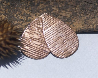Teardrop 32mm x 21mm Woodgrain Pattern Blank Shape for Stamping Texturing Soldering Blanks
