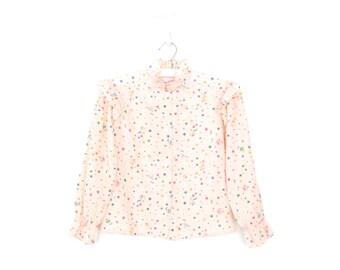 70s Girls Blouse * Novelty Print Blouse * Butterfly Sleeve * 1970s Shirt * Girl 10