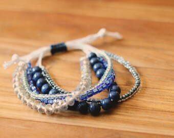 Beaded Wax Cord Bracelet - blue, silver, crystal, round, square, lapis - adjustable