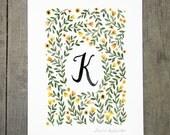 Monogram Letter K floral art print