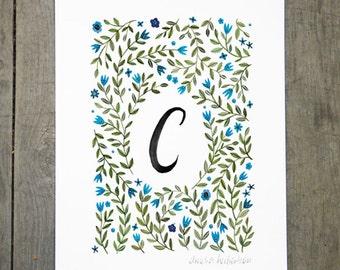 Monogram Letter C floral art print