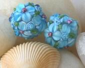Handmade Glass Flower Beads Jewelry Making Supplies - 14mm Round Beads (1 bead)  Aquamarine with Pink