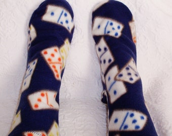 Women's Warm Fleece Socks, Ladies Socks, Domino Design Bed Socks, Handmade Gifts, Boot Liners, Camping Socks NO. 201